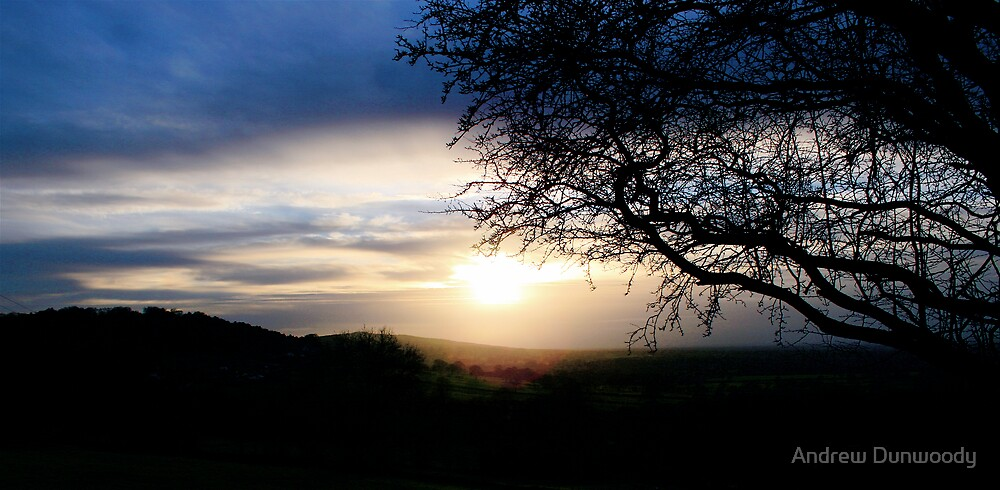 Sunset over Mow Cop by Andrew Dunwoody