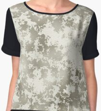 White and Brown Print Women's Chiffon Top