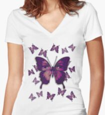 Butterfly Variation 01 Women's Fitted V-Neck T-Shirt