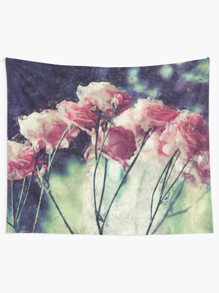 Alternate view of Pink Rose Flowers Tapestry