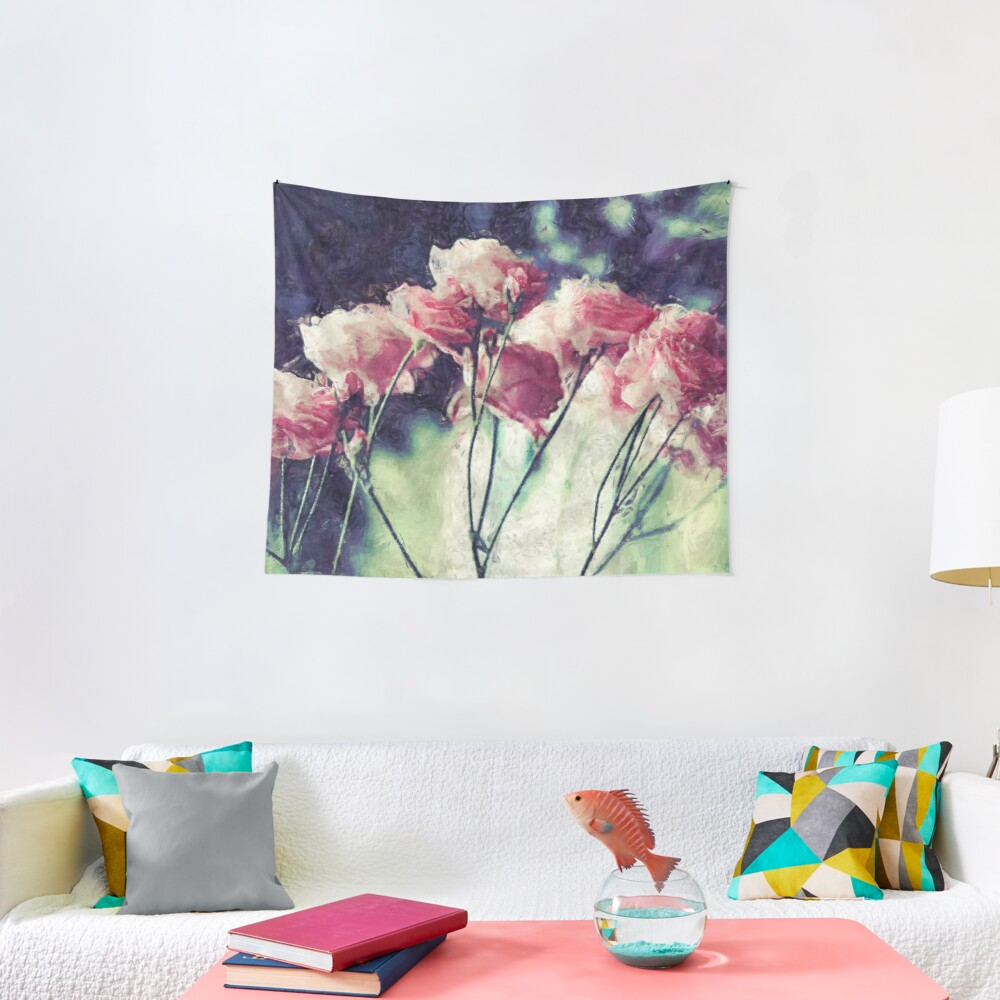 Pink Rose Flowers Tapestry
