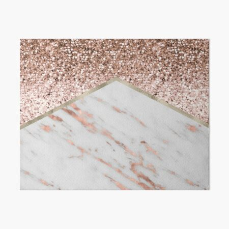 Shimmering rose gold with rose gold marble Art Board Print