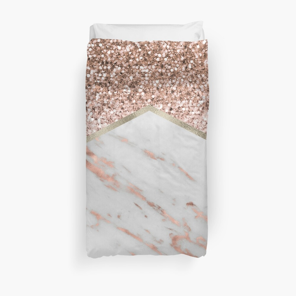 Shimmering rose gold with rose gold marble Duvet Cover