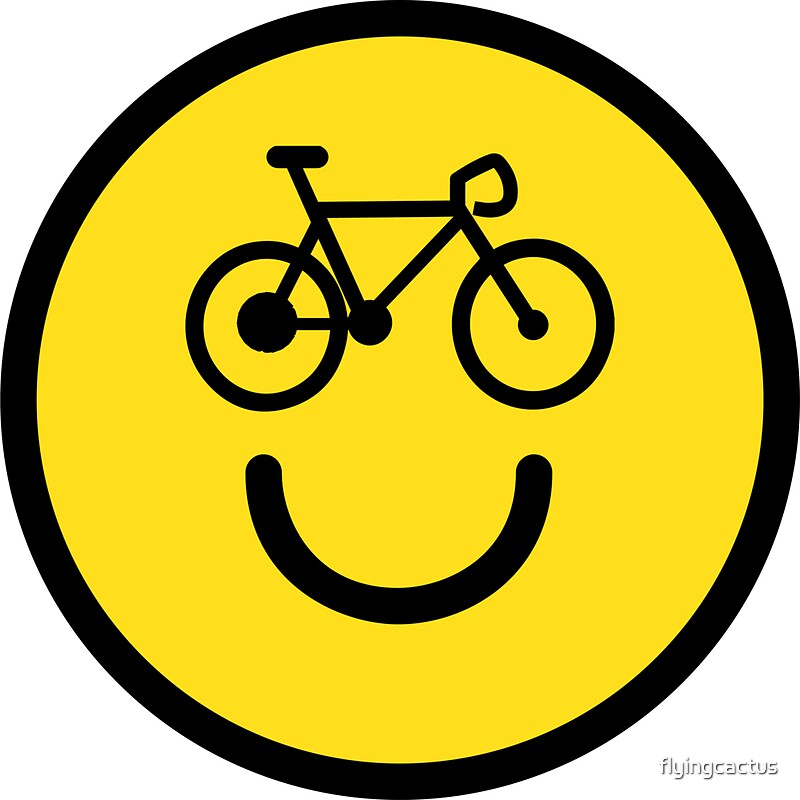 I Love Cycling Smiley Emoji Happy Bike Face Stickers By