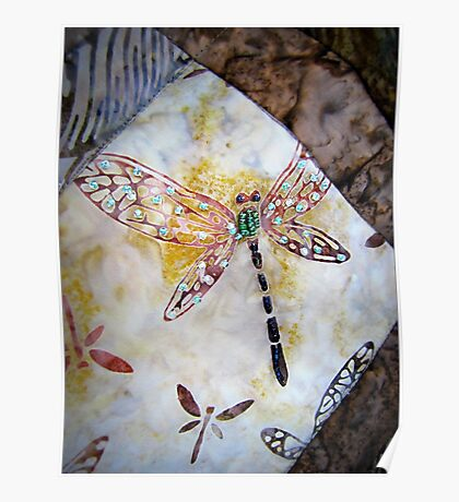 BEADED DRAGONFLY QUILT DETAIL Poster