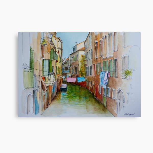 Colourful laundry dries above a Venice Canal Metal Print