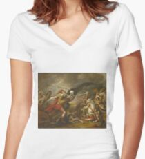 John Trumbull - Joshua At The Battle Of Ai - Attended By Death Women's Fitted V-Neck T-Shirt