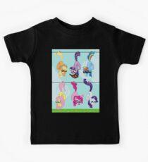 Clothesline Hanging Pixel Ponies Kids Tee