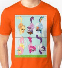 Clothesline Hanging Pixel Ponies Unisex T-Shirt