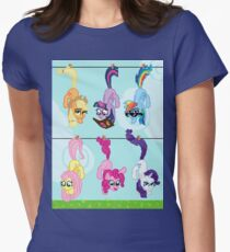 Clothesline Hanging Pixel Ponies Womens Fitted T-Shirt