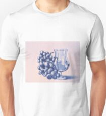 Drawing of grapes and glass of wine. Illustration  Unisex T-Shirt