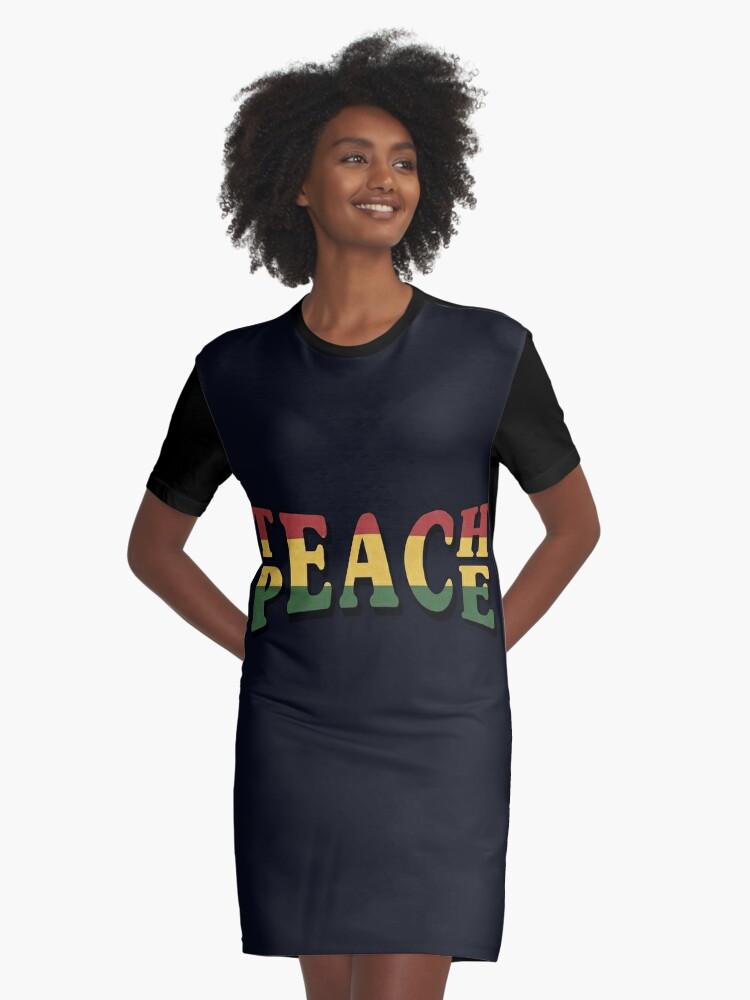 2932808e0e0e Teach Peace Cool Quote Hippie Rasta Weed Love Music Graphic T-Shirt Dress