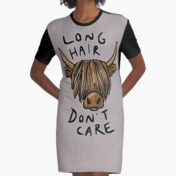 Long Hair Don't Care - the Highland Cow Graphic T-Shirt Dress