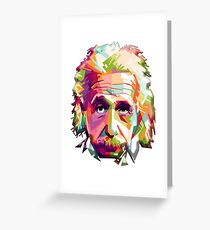 EINSTEIN, Genius, Math, E = mc2, Science, Physics, Cosmology, Groovy, Portrait Greeting Card