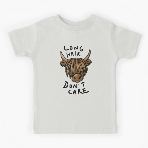 Long Hair Don't Care - the Highland Cow Kids T-Shirt