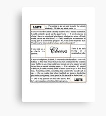 Quotes from Cheers - Dr. Lilith Sternin-Crane Canvas Print