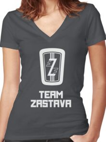 Team Zastava - Skidmark Edition Women's Fitted V-Neck T-Shirt