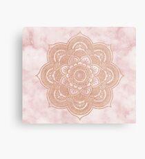 Rose gold mandala - pink marble Metal Print