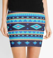 Native american dark blue pattern Mini Skirt