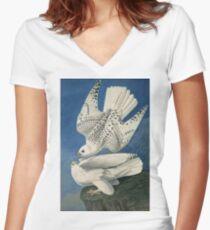 John James Audubon - Gyrfalcon Women's Fitted V-Neck T-Shirt