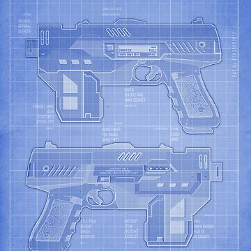Lawgiver MKII Blueprint by strangelysaucy