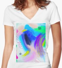 Colorfull Abstract Painting Women's Fitted V-Neck T-Shirt