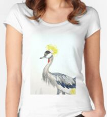 Yellow Grey Crowned Crane  Women's Fitted Scoop T-Shirt