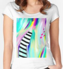 Colorful Abstract Painting Women's Fitted Scoop T-Shirt