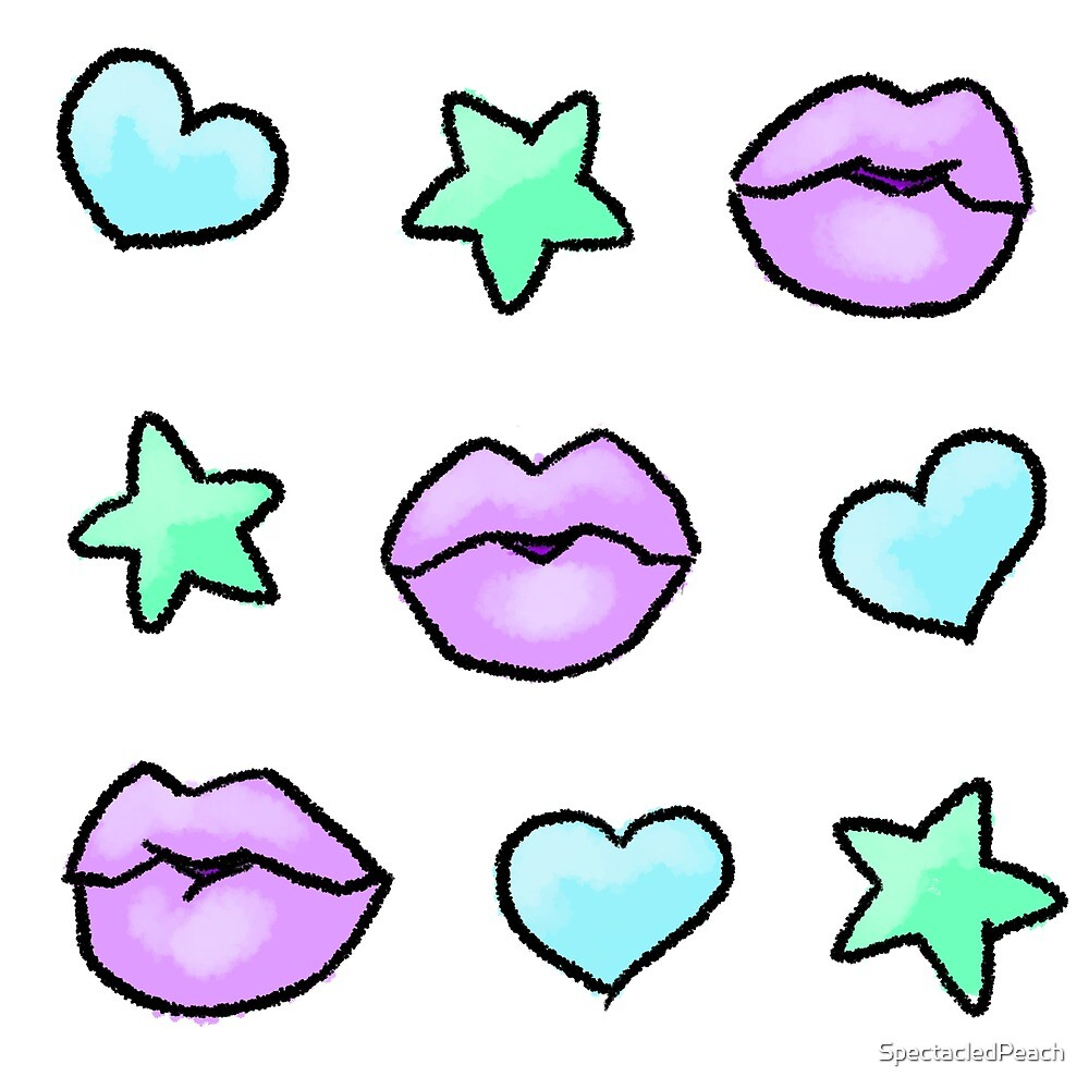 Kawaii Kiss Pastel Stars Hearts by SpectacledPeach