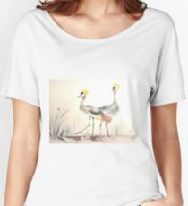 Full artwork of Grey Crowned Crane  Women's Relaxed Fit T-Shirt