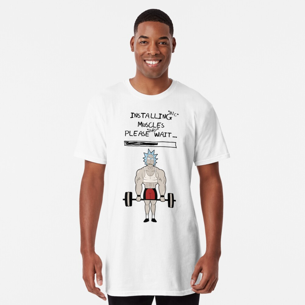 Rick and Morty. Installing muscles. Long T-Shirt