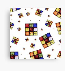 Zombie Funky Cube Pattern White BG By BoardZombies Canvas Print