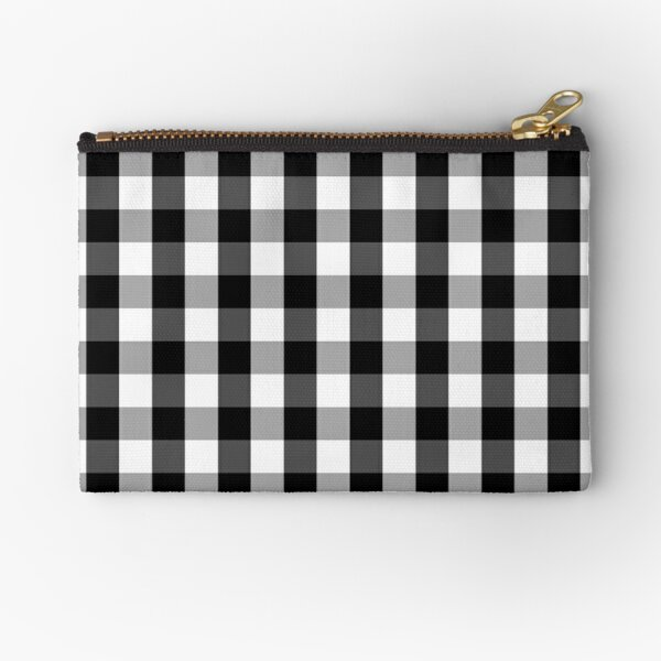 Large Black White Gingham Checked Square Pattern Zipper Pouch