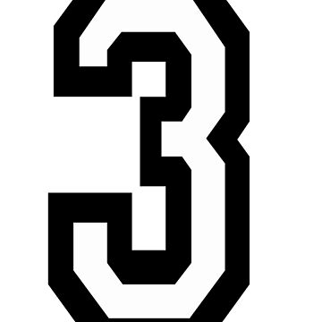 3, TEAM SPORTS, NUMBER 3, THREE, THIRD, Competition, Tri,  Triple by TOMSREDBUBBLE
