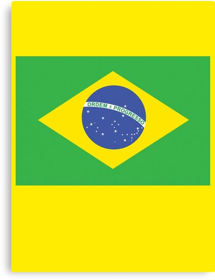 BRAZIL, BRAZILIAN FLAG, FLAG OF BRAZIL, PURE & SIMPLE, Brazil, Football, Soccer, Olympics, on Yellow by TOM HILL - Designer