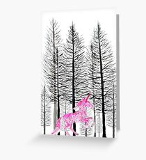 pink unicorn in forest  Greeting Card