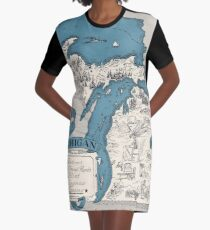 Vintage 1926 Michigan state map - Christmas gift idea Graphic T-Shirt Dress