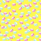 Makronenmuster, rosa Makronen, blaue Makronen, Macaron, Muster, Kinder Kunst, lustige Kunst, moderne Kunst, Wandkunst, Print, minimalistisch, Modern, Humor von juliaemelian