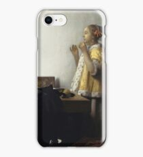 Johannes Vermeer - Young Woman With A Pearl Necklace (Around 1662) iPhone Case/Skin