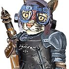 Naughty Pilot Cat with Laser Gun and Heavy Armor by felissimha