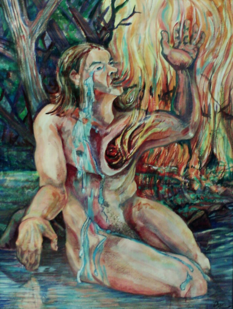 Cooling Tears of a Burning Heart Self-portrait (Mixed Media)- by Robert Dye