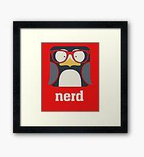 Nerd - Penguin with Geek Glasses - Funny Humor  Framed Print