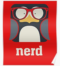 Nerd - Penguin with Geek Glasses - Funny Humor  Poster