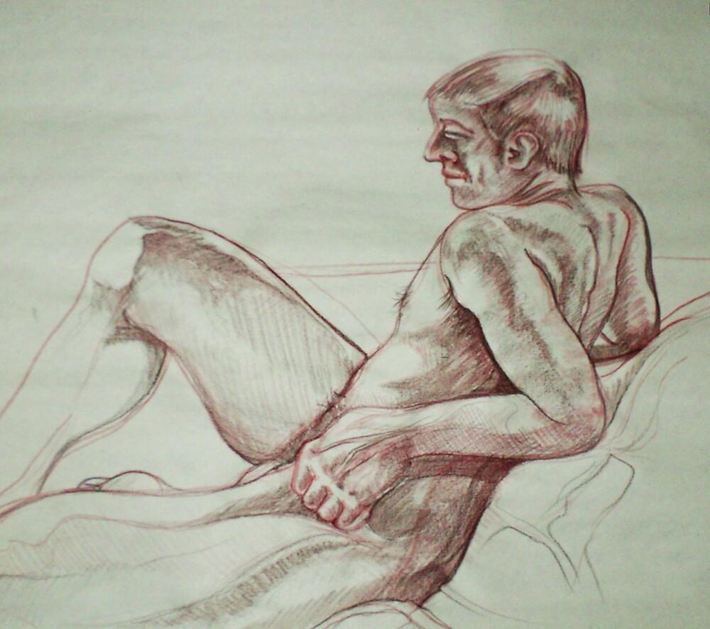 Male Nude (Drawing)- by Robert Dye