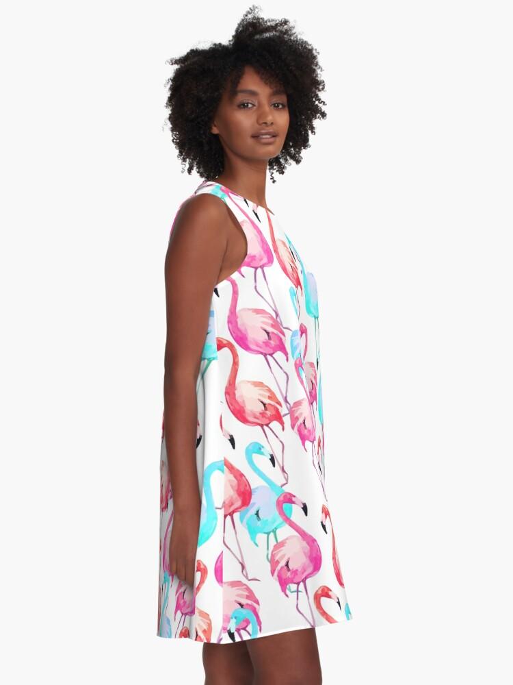 Alternate view of Flamingo, Flamingos pattern, Print, Tropical, Bird, Pattern, Funny art, Modern art, Wall art, Print, Minimalistic, Modern A-Line Dress