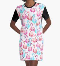 Flamingo, Flamingos pattern, Print, Tropical, Bird, Pattern, Funny art, Modern art, Wall art, Print, Minimalistic, Modern Graphic T-Shirt Dress