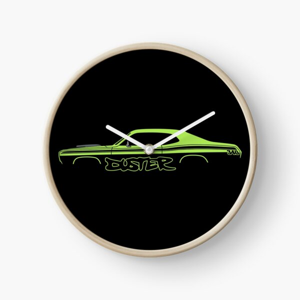 Muscle Car silhouette -  340 lime green Clock