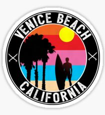 SURFING VENICE BEACH CALIFORNIA SURF BEACH VACATION PALM TREE SURFER  Sticker