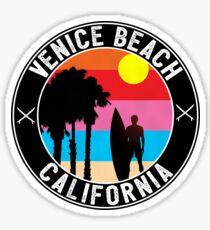 SURFING VENICE STRAND KALIFORNIEN SURF STRAND URLAUB PALM BAUM SURFER Sticker