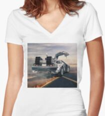 delorean time machine oil painting fan art Women's Fitted V-Neck T-Shirt